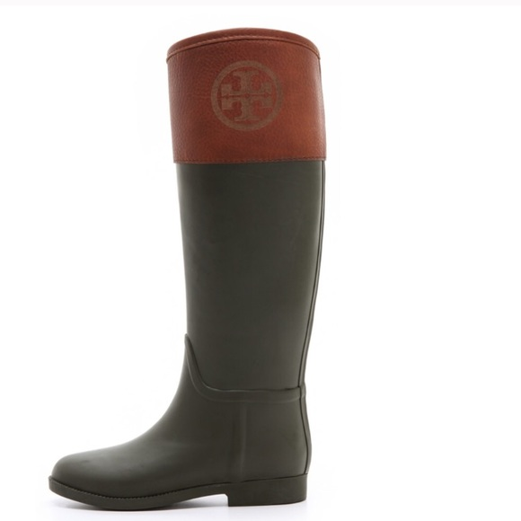 5a5a7debe872 Tory Burch Black Brown winter rain boots 10. M 5abfe6f085e605b9c9aafd5e